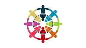 Mensenembleem Het symbool van het groepsgroepswerk van acht personen in een cirkel 4K grafische resolutiemotie