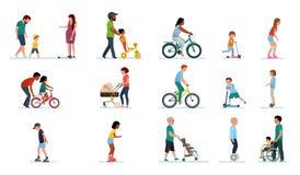 Mensengeneratie Mensen van alle leeftijden in het Park Reeks illustraties van mensen die in het Park, op fiets lopen,  vector illustratie