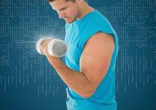 Mensengewichtheffen met gloed tegen blauwe achtergrond met witte binaire code Royalty-vrije Stock Afbeeldingen