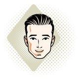 Mensengezicht, menselijk hoofd Vectorkarakter, knap donkerbruin mannelijk verstand royalty-vrije illustratie