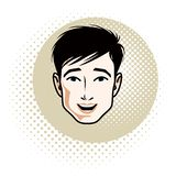 Mensengezicht, menselijk hoofd Vectorkarakter, knap donkerbruin mannetje met modieus stock illustratie