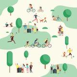 Mensengroepen op bbq picknick Gelukkige families in diverse openluchtactiviteit in de zomerpark Beeldverhaal vectorkarakters Royalty-vrije Stock Afbeelding