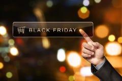Mensenhand wat betreft Black Friday in de onderzoeksbar Royalty-vrije Stock Afbeeldingen