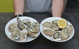 Mensenhanden met citroen en oester Royalty-vrije Stock Foto