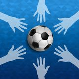 Mensenhanden samen voor voetbalsportevenement Stock Afbeelding