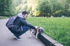 Mensenijzer een Franse buldog in stadspark stock afbeeldingen