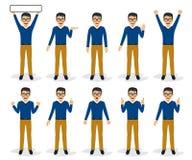 Mensenkarakter - in divers wordt geplaatst stelt, geïsoleerde, vectorillustratie die Stock Fotografie