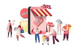 Mensenkarakters die het online opslag en smartphonescherm inkopen Website die, mobiel marketing concept, e-commerce winkelen vector illustratie