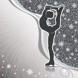 Mensenkunstschaatsen. Ontwerpmalplaatje met lijnen en sneeuwvlokkenbac Royalty-vrije Stock Fotografie