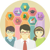 Mensenleraar en Leerlingen met Onderwijspictogrammen Stock Afbeeldingen
