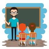 Mensenleraar met studenten in het klaslokaal royalty-vrije illustratie
