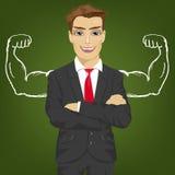 Mensenleraar, verkoper of zakenman met spieren van het krijt de gezonde sterke wapen voor succes Royalty-vrije Stock Foto