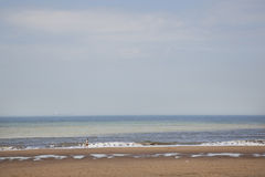 Mensenlooppas op strand van Noordzee in Holland Royalty-vrije Stock Afbeeldingen
