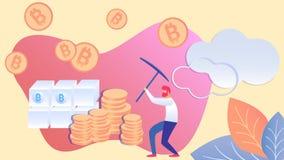 Mensenmijnbouw Bitcoin met Pikhouweel Vlakke Illustratie royalty-vrije illustratie