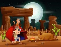 Mensenontdekkingsreiziger die uit in de woestijn kamperen royalty-vrije illustratie