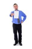 Mensenoverhemd en de lege kaart opgeheven wenkbrauw van de bandholding Stock Afbeeldingen