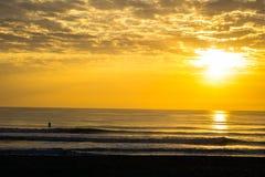 Mensenpeddel die bij Zonsopgang surfen Royalty-vrije Stock Foto's