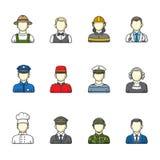 mensenpictogrammen Reeks verschillende mannelijke beroepen Kleur geschetste pictograminzameling Stock Foto's