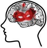 Mensenprofiel met zichtbare hersenen en rood masker Stock Afbeeldingen
