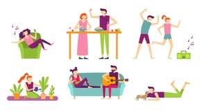 Mensenrecreatie thuis De jonge paar het besteden vakantie en ontspant, het koken en het eten of het luisteren aan muziek vlak vector illustratie