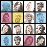 Mensenreeks van Menselijk het Gezichtsconcept van de Gezichtendiversiteit royalty-vrije stock afbeelding