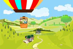Mensenreizen op luchtballon, mening van hierboven bij plattelandslandschap Stock Foto's