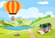 Mensenreizen op luchtballon, mening van hierboven bij plattelandslandschap Royalty-vrije Stock Fotografie