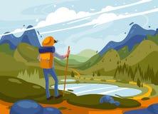 Mensenreiziger met rugzak Ontdekkingsreiziger die zich bovenop berg bevinden vector illustratie
