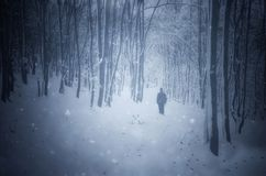 Mensensilhouet in de winterblizzard royalty-vrije stock afbeeldingen