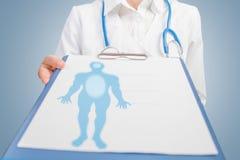 Mensensilhouet op medisch aanplakbord royalty-vrije stock afbeelding