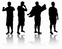 Mensensilhouetten Stock Foto