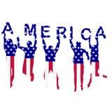Mensensilhouetten in de vlag die van de V.S. worden gevormd Stock Foto