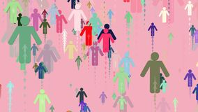 Mensensilhouetten in diverse kleuren stock video