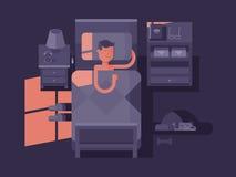 Mensenslaap in bed stock illustratie