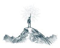Mensentribunes bovenop berg met in hand toorts Zaken, het bereiken doel, succes, ontdekkingsconcept Schetsvector vector illustratie