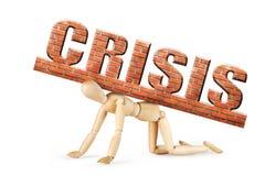 Mensentribunes op zijn knieën onder zwaargewicht van crisis Stock Afbeeldingen