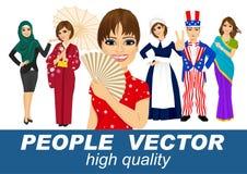 Mensenvector met diverse karakters Stock Afbeelding
