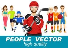 Mensenvector met diverse sportkarakters Stock Afbeelding