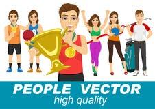 Mensenvector met diverse sportkarakters Stock Afbeeldingen