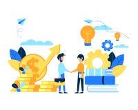 Mensenverandering tussen kennisidee en geld Stock Afbeeldingen