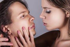 Mensenvinger op lippen Stock Afbeelding
