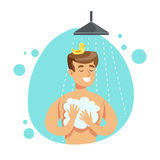Mensenwas zelf met Zeep in Douche, een Deel van Mensen in de Badkamers die Hun Routinereeks van Hygiëneprocedures doen stock illustratie