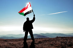 Mensenwinnaar die de vlag van de Soedan golven Stock Afbeeldingen