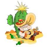 Mensenzitting dichtbij cactus Royalty-vrije Stock Afbeelding