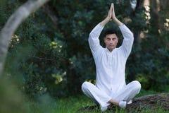 Mensenzitting in het park die meditatie doen Stock Afbeeldingen