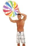 Mensenzwempak met beachball lucht royalty-vrije stock foto's