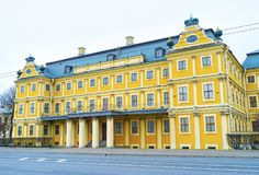 Menshikov宫殿美好的大厦在圣彼得堡, Russi 免版税库存照片
