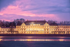 Menshikov Palace in Saint Petersburg at sunset Stock Photography