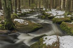 Mensi Vltavice river in snow winter day royalty free stock photos