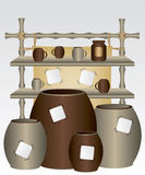 Mensola e tazze di bambù del mercato Fotografia Stock Libera da Diritti